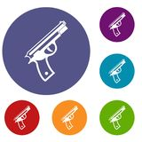 Gun icons set. In flat circle reb, blue and green color for web stock illustration