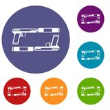 Gun icons set. In flat circle reb, blue and green color for web vector illustration