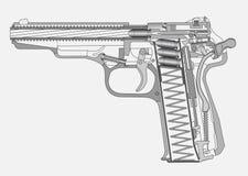 Gun illustration. Handgun detaled scheme isolated on white Royalty Free Stock Photos