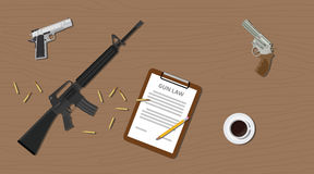 Gun law legal illegal document  pistols riffle and ammo cartridge. Gun law legal illegal with document paper pistols riffle and ammo cartridge vector Stock Photo