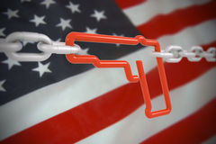 Gun link symbol locked with metal chains Stock Photos