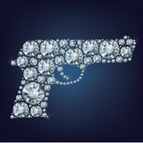 Gun made up a lot of diamonds Stock Images