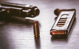 Gun magazine with 9mm caliber bullets Royalty Free Stock Photo