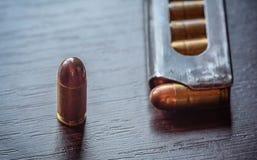 Gun magazine with 9mm caliber bullets Royalty Free Stock Photo