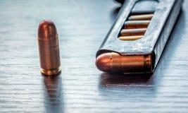 Gun magazine with 9mm caliber bullets Stock Photo