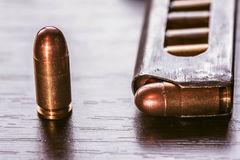 Gun magazine with 9mm caliber bullets Royalty Free Stock Images