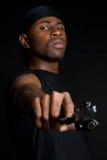 Gun Man. African american man holding gun Stock Photos