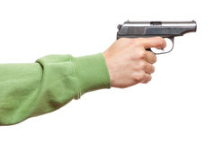 Gun in the man's hand Royalty Free Stock Image