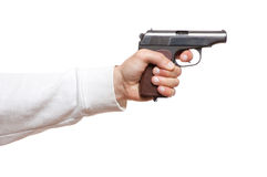 Gun in the man's hand Royalty Free Stock Images