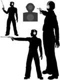 Gun man shoot target pistol firing range. A silhouette person gun man shoots a target pistol in three poses Royalty Free Stock Photo