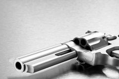 Gun on metal - modern revolver Royalty Free Stock Images