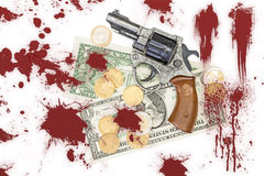 Gun, money and blood Stock Photography