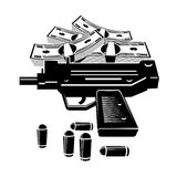 Gun and money. Illustration of uzi gun and lot of money. Isolated on white background Royalty Free Stock Images
