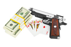 Gun money and playing cards Royalty Free Stock Image