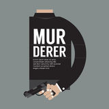 Gun In Murderer's Hand. Gun In Murderer's Hand Vector Illustration Royalty Free Stock Photography