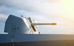 Gun on naval ship. Stock Photography
