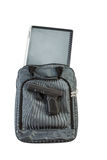 Gun and Notebook computer with carry bag on white  Stock Photos