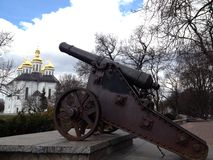 Gun. Old cannon in city Park Chernigov Stock Photos