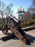 Gun. Old gun in a city Park Chernigov Royalty Free Stock Photos