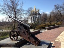 Gun. Old gun in a city Park Chernigov Royalty Free Stock Images
