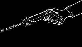 Gun Over Black Background. Cartoon of hand firing pistol over black background Royalty Free Stock Photography