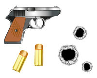 Gun and patrons. Gun with patron and bullet holes on white background Royalty Free Stock Photography