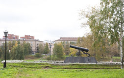 Gun on pedestal in Petrozavodsk, Russia Royalty Free Stock Photography