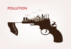 Gun with plants pollution. the concept of ecology Royalty Free Stock Images