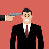 Gun point to businessman head Royalty Free Stock Photo