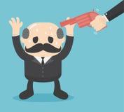 Gun point to businessman head. Business concept boss. Eps.10 Stock Photos