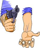 Gun pointing at you. Thief pointing at you with a gun and asking for money Stock Photo