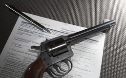 Gun purchase paperwork Royalty Free Stock Photography