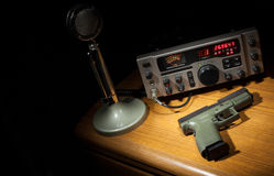 Gun and radio Stock Image