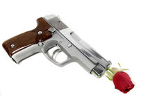Gun and red rose Stock Photography