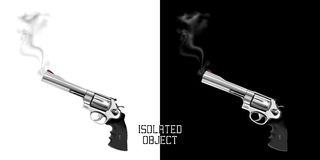 Gun revolver with smoke from the barrel. Isolated object on white and black background can be used with any image or text in different colors Royalty Free Stock Image