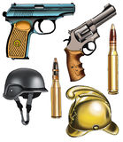 Gun revolver weapon multicharging fire boss Royalty Free Stock Photo