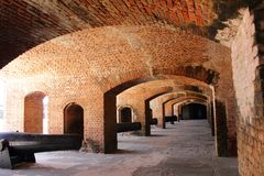 Gun Rooms with Cannons inside Fort Stock Photography