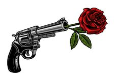 Gun with rose. Revolver with rose isolated on white. Vector colourful illustration vector illustration