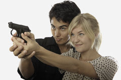 Gun safety instruction Royalty Free Stock Photo