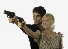 Gun safety instruction Stock Images