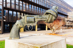 Gun sculpture on the Kirchberg in Luxembourg Royalty Free Stock Images
