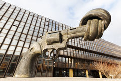 Gun sculpture on the Kirchberg in Luxembourg Stock Photo