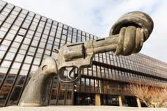 Gun sculpture on the Kirchberg in Luxembourg Stock Photo