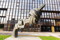 Gun sculpture on the Kirchberg in Luxembourg Stock Image