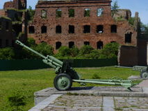 The gun of Second World War in a fortress. Nearby Saint-Petersburg, Russia royalty free stock photography