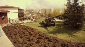 Gun of the second world war old Ankara. Ankara capital of Turkey Cityscape early spring stock footage