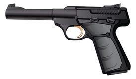 Gun Semi-Automatic 22 Caliber. Gun Simi-Automatic 22 Caliber is a detailed illustration of a modern black semi-automatic 22 Caliber pistol stock illustration