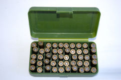 Gun shells in ammunition box Royalty Free Stock Images