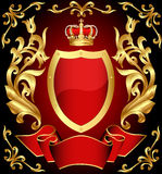 Gun shield with crown and gold Royalty Free Stock Photography