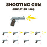 Gun shoot animation. 8 frame loop. Realistic smooth motion with recoil and falling shells. Cartoon effect for video games Royalty Free Stock Image